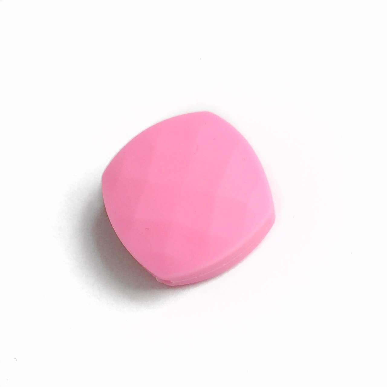 Ромб плоский (розовый) силиконовые бусины