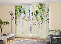"""Японские фотошторы """"3D Ламбрекены из орхидей и цветов"""" 2,40*1,20 (2 панели по 60см)"""