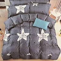 Серый комплект постельного белья Звезды (двуспальный-евро, простынь на резинке)