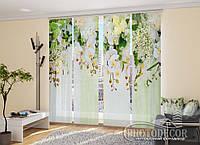 """Японские фотошторы """"3D Ламбрекены из орхидей и цветов 1"""" 2,40*1,20 (2 панели по 60см)"""