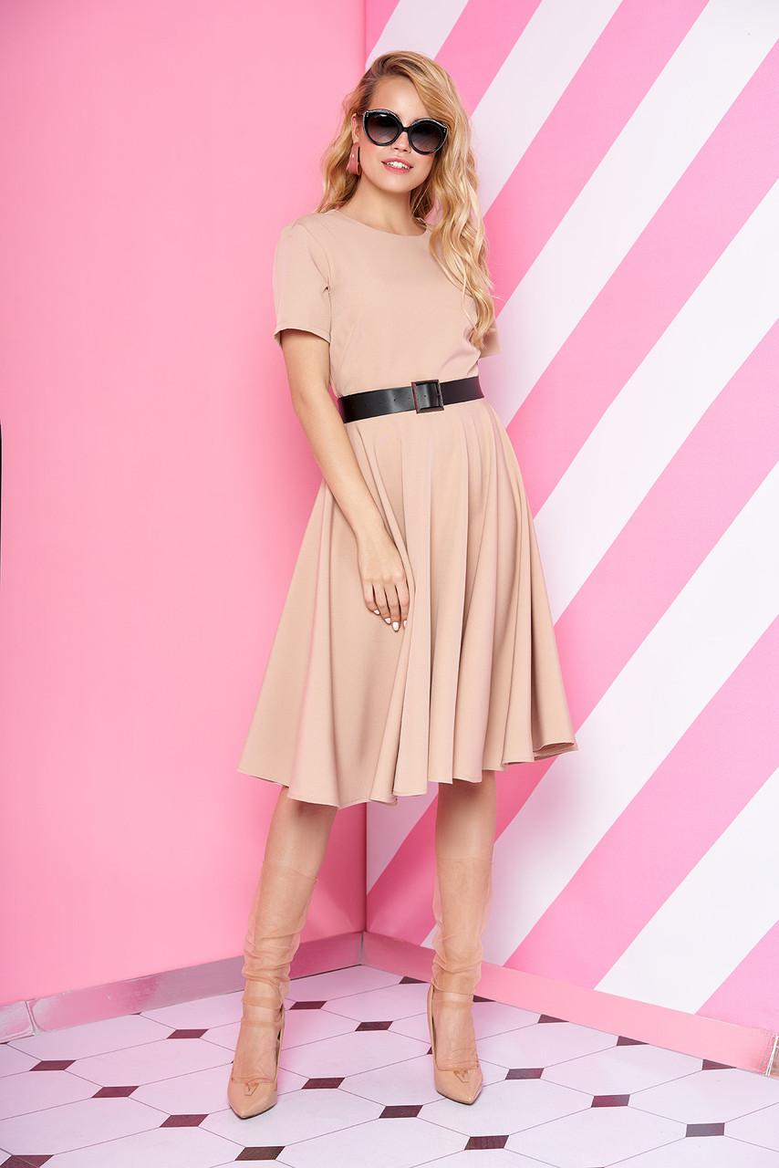 Элегантное платье средняя длина юбка солнце клеш с поясом рукав короткий пудрового цвета