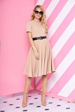 Элегантное платье средняя длина юбка солнце клеш с поясом рукав короткий пудрового цвета, фото 2