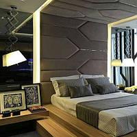 М'які стінові панелі з металевими вставками, м'які панелі з профілем, м'які панелі на замовлення Одесі