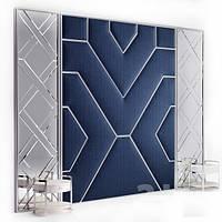 М'які стінові панелі з хромовими вставками, м'які панелі з хромовим профілем, панелі тканини в Одесі