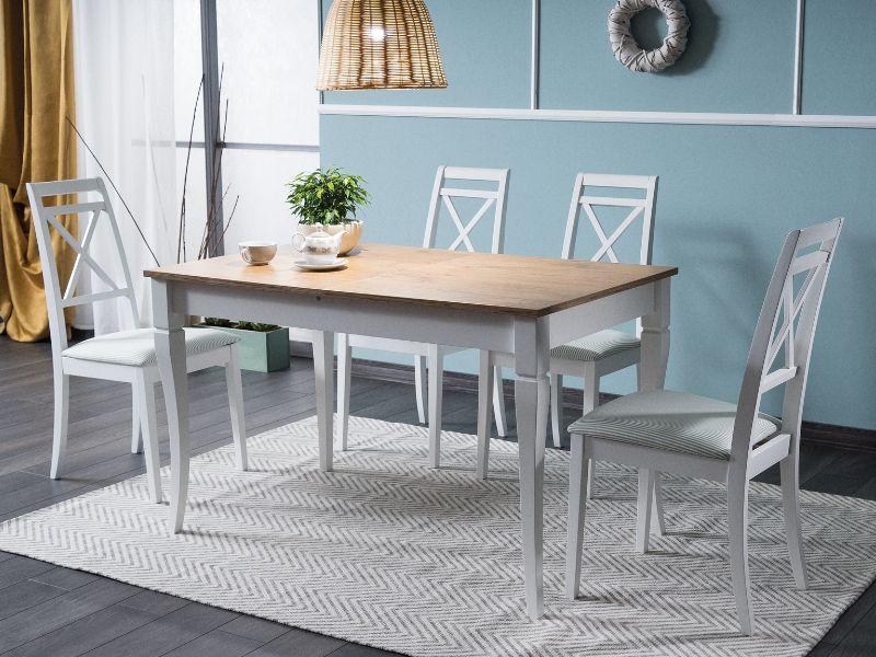 """Розкладний кухонний стіл """"Ludwik"""" (дуб сонома, білий) 125*75см"""