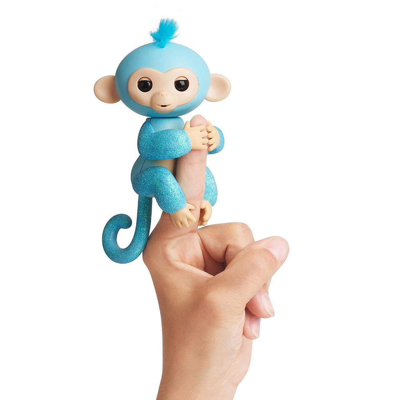 Интерактивная гламурная ручная обезьянка WowWee Fingerlings голубая