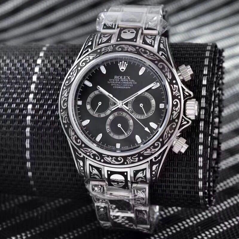 1125a414 Мужские наручные часы (копия) Rolex Daytona Silver Black AAA Skull ...