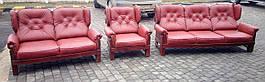 Комплект мягкой кожаной мебели красный из Европы 3+2+1
