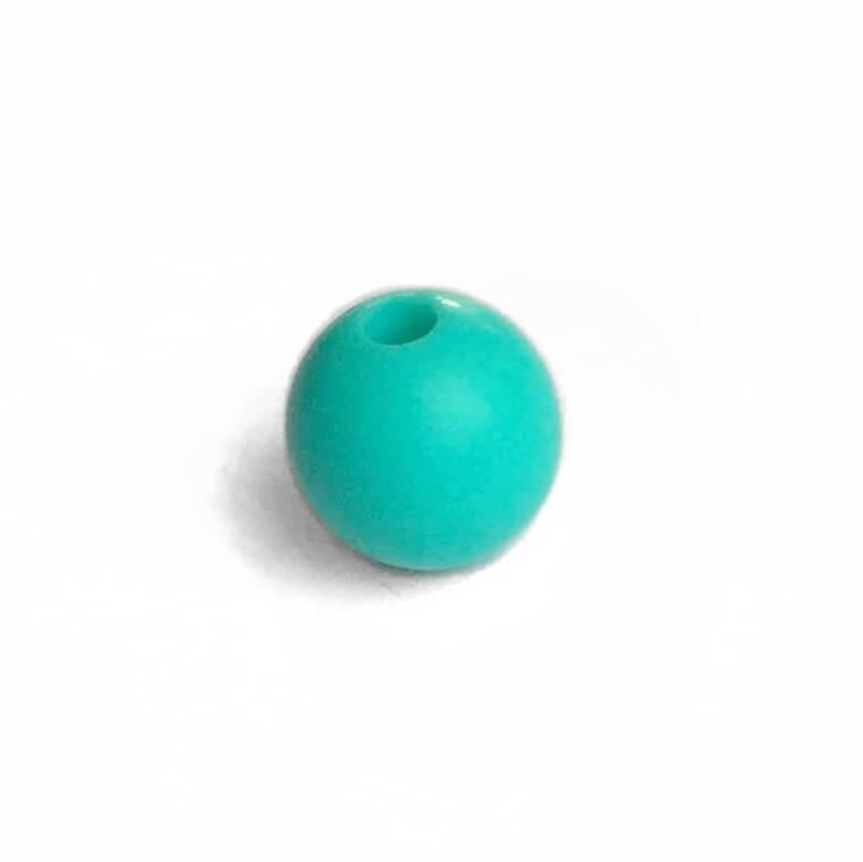 12мм (бирюза) круглая, силиконовая бусина