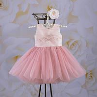 """Платье """"Настюша"""" с повязкой (белый, молочный, пудра) Размеры от 68 до 116"""