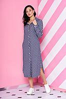 Модное платье рубашка миди на пуговицах сбоку разрезы длинный рукав серое
