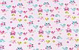 Сатин (бавовняна тканина) рожеві совушки з пташками, фото 2