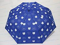 Женский зонт полуавтомат однотонный электрик с мордочками кошечек, фото 1