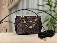 Женская сумка ZARA черная с декором из глиттера/графит,золото, черный, лиловый, хамелион, серебро/
