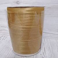 Атласная косая бейка золотистого цвета для окантовки, ширина 15 мм моток 100 м