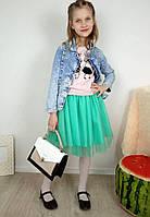 Фатиновая юбка цвета ментол на девочку 7-10 лет