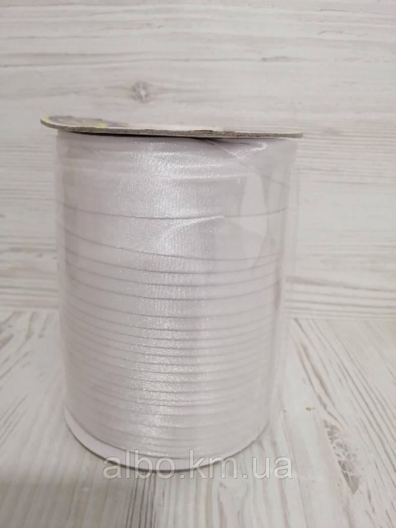 Косая бейка атлас белого цвета для окантовки, ширина 15 мм моток 100 м