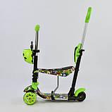 Самокат-беговел 5в1 Best Scooter 59050 з батьківською ручкою і сидінням, підсвічування коліс і платформи, фото 2