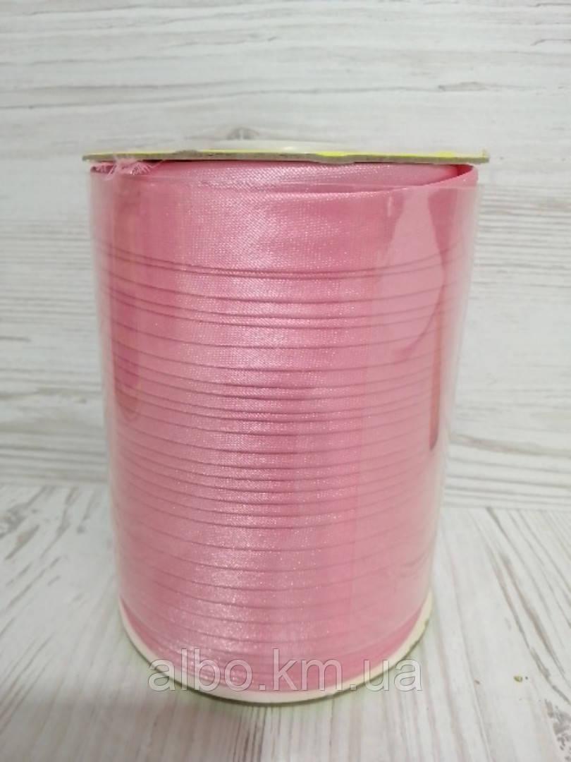 Косая бейка из атласа  розового цвета для окантовки, ширина 15 мм моток 100 м