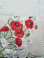 Скатерть  из искуственного льна 220х150 с вышивкой маки
