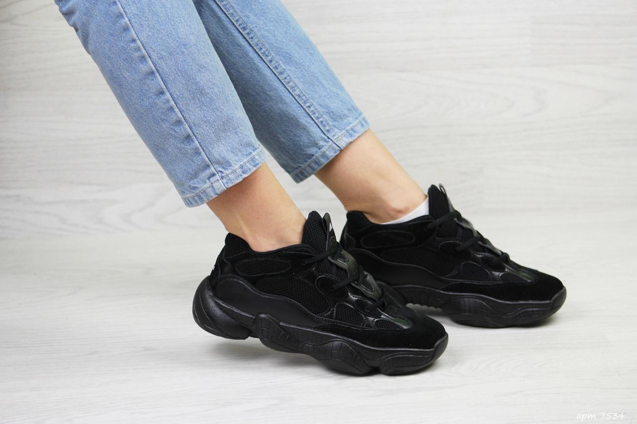 Женские кроссовки Adidas Yeezy 500 (черные)