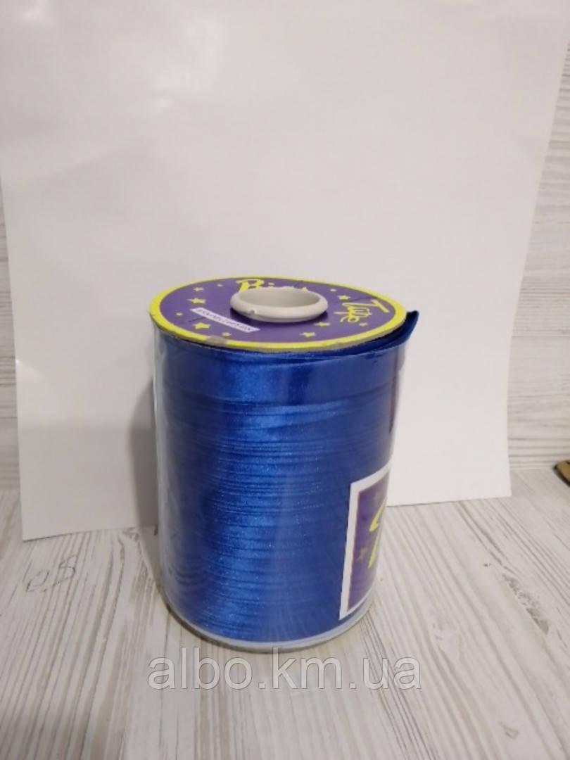 Атласна коса бейка синього кольору для окантовки, ширина 15 мм моток 100 м