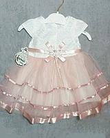 Нарядное платье с цветком для девочки на 1 год, фото 1