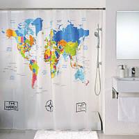 Шторка для душа ванной Карта мира, фото 1