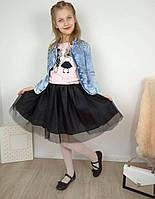 Черная юбка из фатина на девочку 7-10 лет