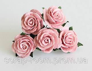 Роза бумажная розово-персиковая диаметр 2,5 см, роза розово-персиковая, бумажная роза персиковая, цена за 1 шт
