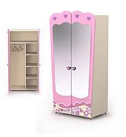 Шкаф двухдверный с зеркалом Pn-02-1+Pn-07-2 мебель детская.