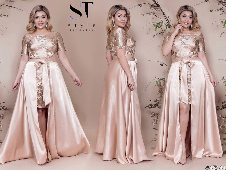 Платье  в пол БАТАЛ атлас в расцветках  48319А