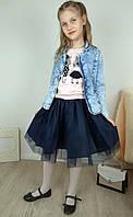 Темно-синяя фатиновая юбка на подкладке для девочки 7-10 лет