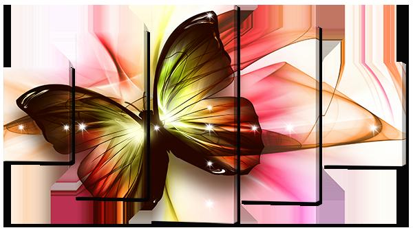 Модульная картина Interno Эко кожа Бабочка  142х80см (А780L)