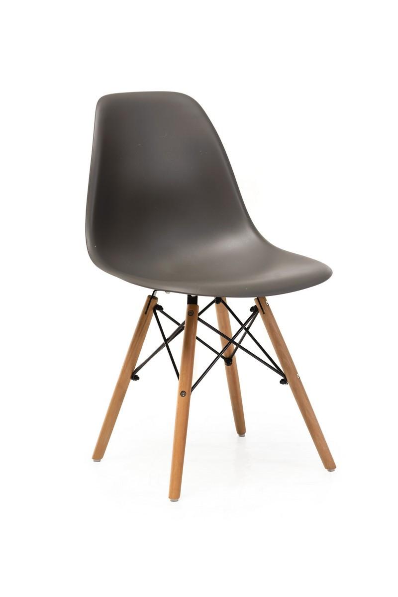 Пластиковый стул M-05 серый от Vetro Mebel + буковые ножки