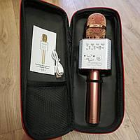Микрофон караоке беспроводной Q9 Pink Gold портативный, блютуз+колонка розовое золото в чехле, фото 1