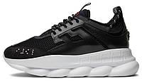Мужские кроссовки Versace Chain Reaction 2 Chainz Black White (версаче, черные/белые)