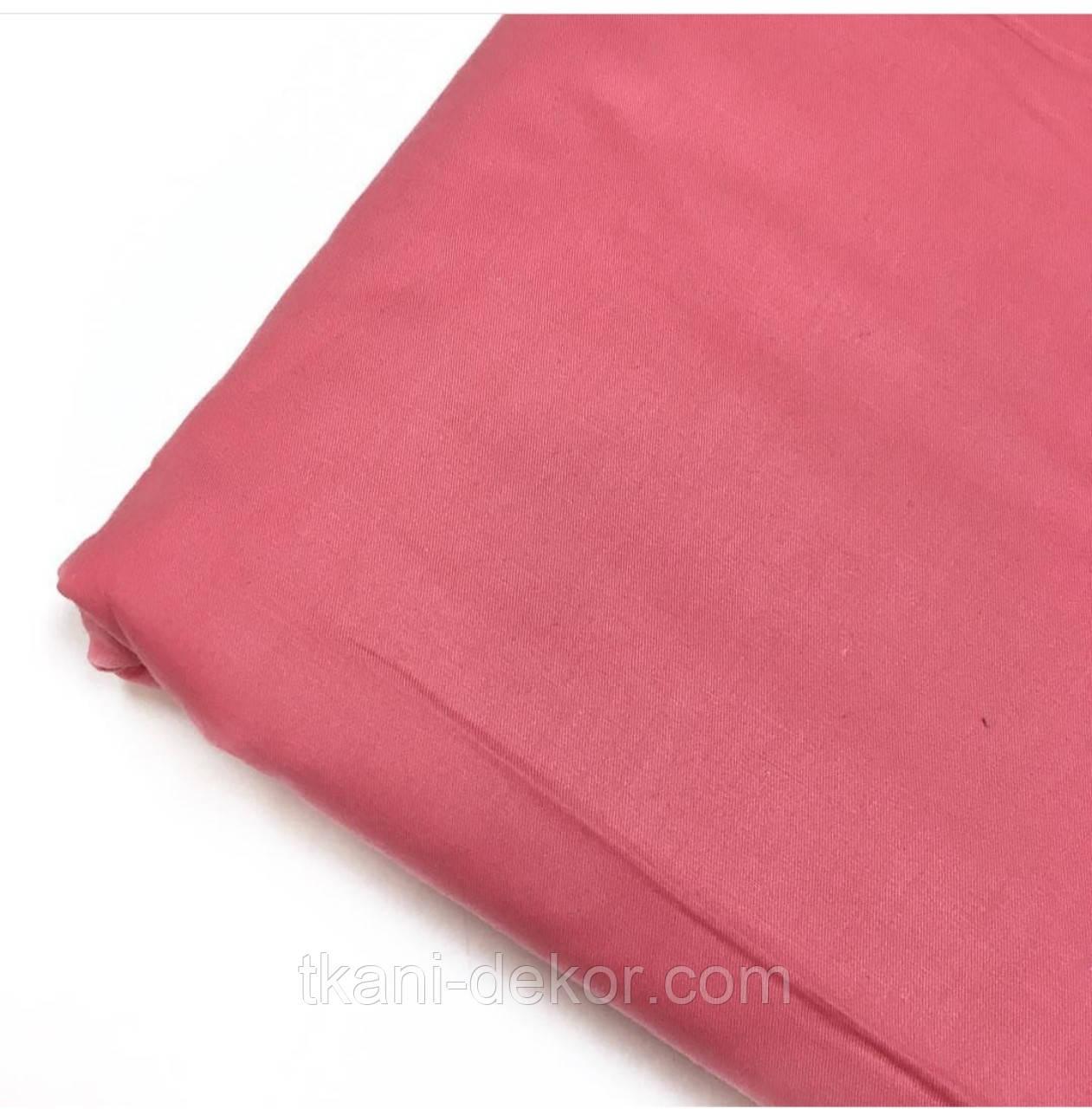 Сатин (бавовняна тканина) червоний корал однотон