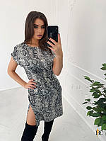 Шелковое принтованное платье в животный принт 31032472
