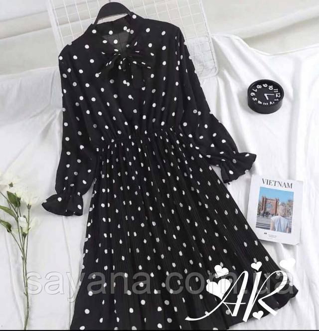 Черное Платье В Горошек Шифон