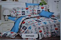 Полуторный комплект постельного белья Морской синее на подарок мальчику,парню,мужчине