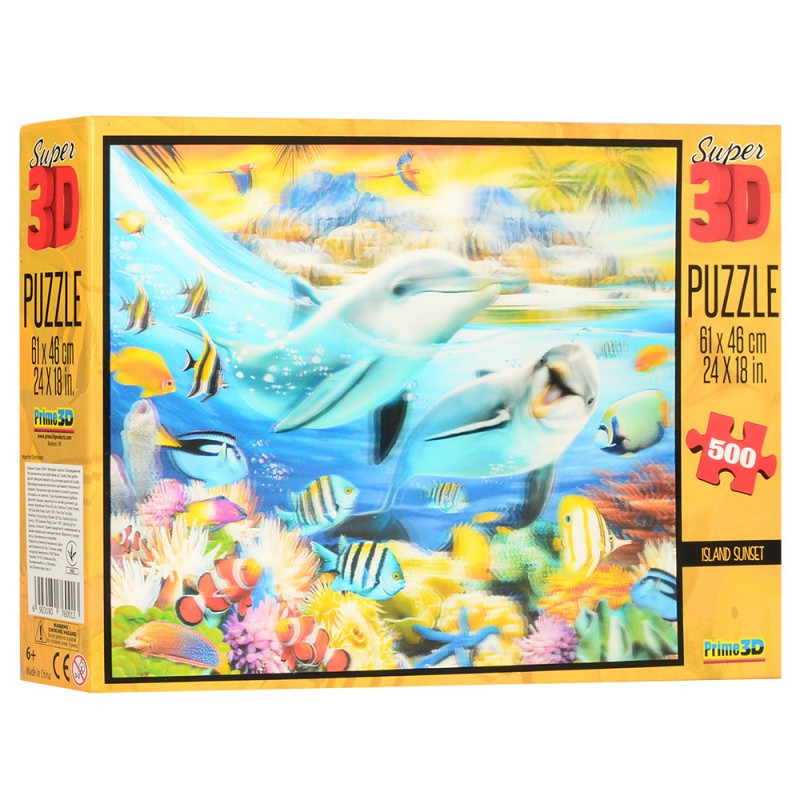 Пазлы с эффектом 3D на 500 деталей (морские обитатели, дельфины), 10047