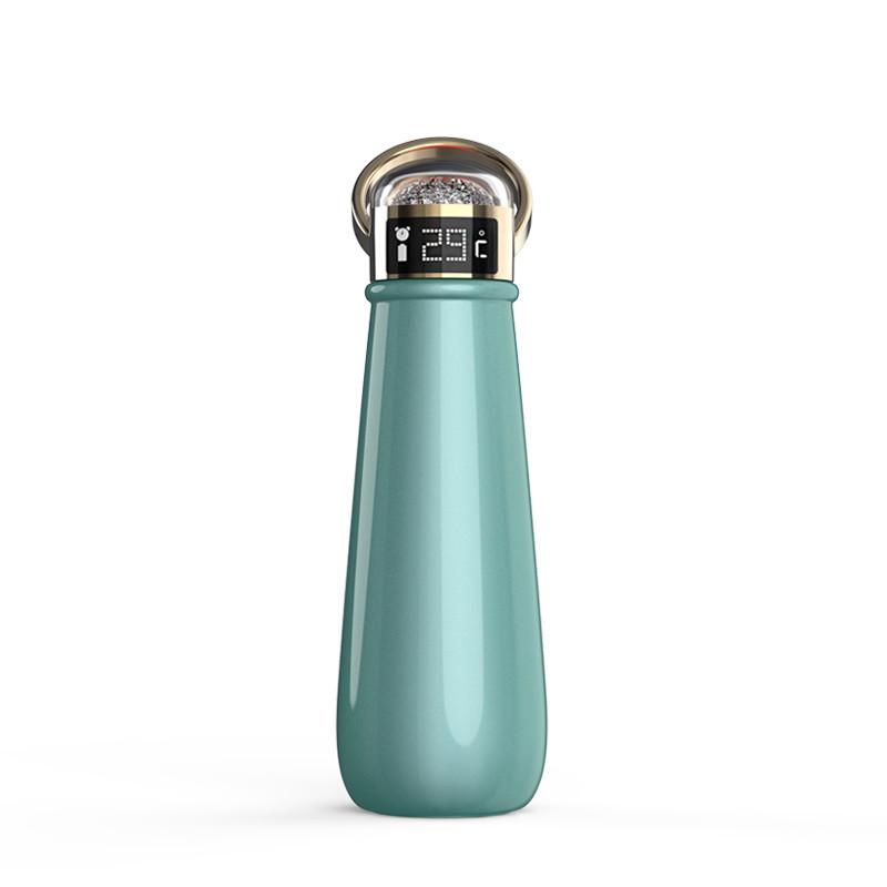 Термопляшка SUNROZ Crystal Smart Water Bottle з індикатором температури 420 мл Зелений (SUN3678)