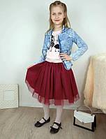 Праздничная бордовая юбка из двухслойного фатина на девочку 7-10 лет, фото 1