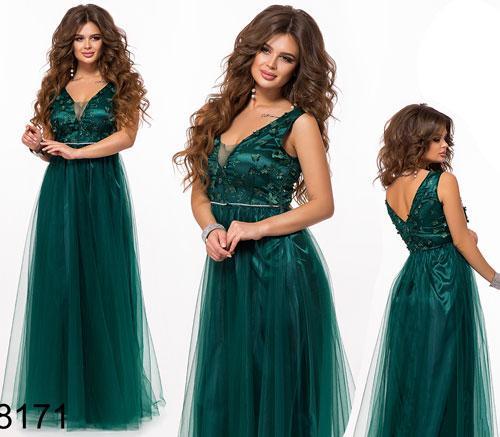 Вечернее длинное платье с вышивкой (бутылка) 828171