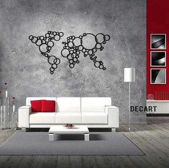Декоративное панно из дерева Карта шары