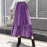 Женская плиссированная длинная юбка бархатная с рюшами фиолетовая, фото 1