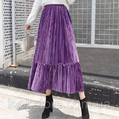 Женская плиссированная длинная юбка бархатная с рюшами фиолетовая