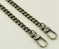 d0f82827748d Цепочка (ручка) для сумки клатча с карабином 65-019 антик, 120 см