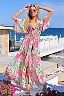 Красивая женская пляжная туника в пол шифон Турция SC8045 73